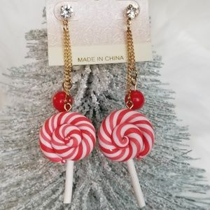 Peppermint Twist Lollipop Earrings